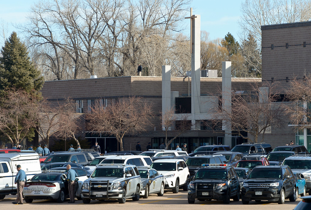 . LONGMONT, CO - MARCH 21: Law enforcement vehicles fill the parking lot at LifeBridge Church for the funeral of Colorado State Patrol Cpl. Daniel Groves March 21, 2019. Groves was struck by a vehicle while assisting a motorist on I-76 during last week\'s blizzard. To view more photos visit timescall.com. (Photo by Lewis Geyer/Staff Photographer)