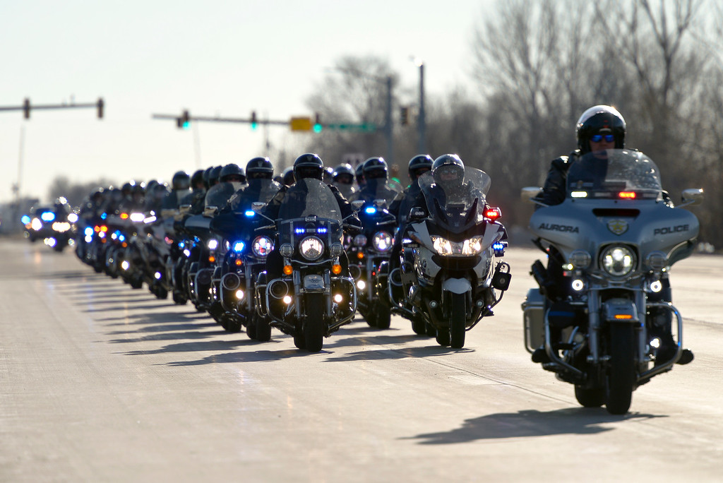 . LONGMONT, CO - MARCH 21: Law enforcement motorcycles lead the funeral procession to LifeBridge Church for Colorado State Patrol Cpl. Daniel Groves March 21, 2019. Groves was struck by a vehicle while assisting a motorist on I-76 during last week\'s blizzard. To view more photos visit timescall.com. (Photo by Lewis Geyer/Staff Photographer)