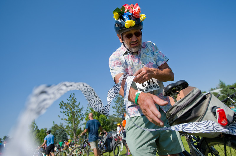 """Rick Fitzgerald decorates his bike for the G'Knight ride at Roosevelt Park in Longmont on Saturday.<br /> More photos:  <a href=""""http://www.dailycamera.com"""">http://www.dailycamera.com</a><br /> (Autumn Parry/Staff Photographer)<br /> June 18, 2016"""