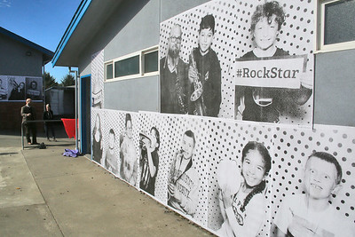 The poster prints were pasted onto at least three different school buildings. (Shaun Walker -- The Times-Standard)