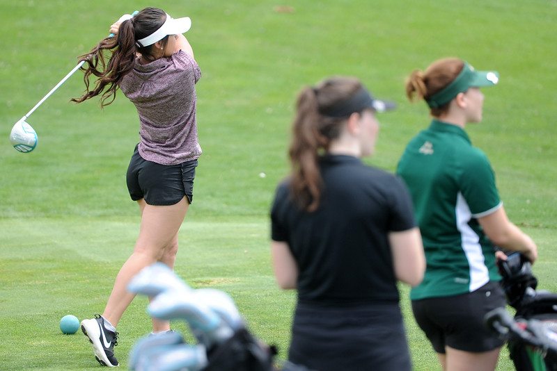 Berthoud's Cora Fate tees off on the 13th hole during the 3A Region 3 tournament on Monday, May 7, 2018 at the Olde Course at Loveland. (Sean Star/Loveland Reporter-Herald)
