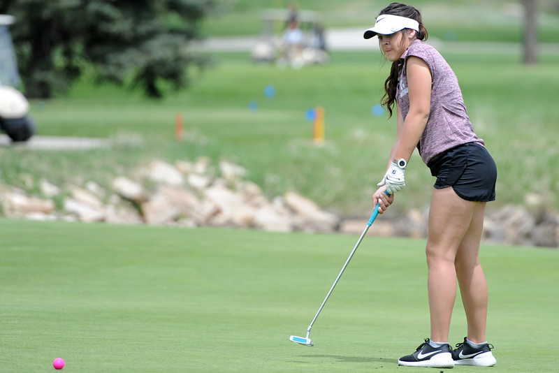 Berthoud's Cora Fate watches a putt during the 3A Region 3 tournament on Monday, May 7, 2018 at the Olde Course at Loveland. (Sean Star/Loveland Reporter-Herald)