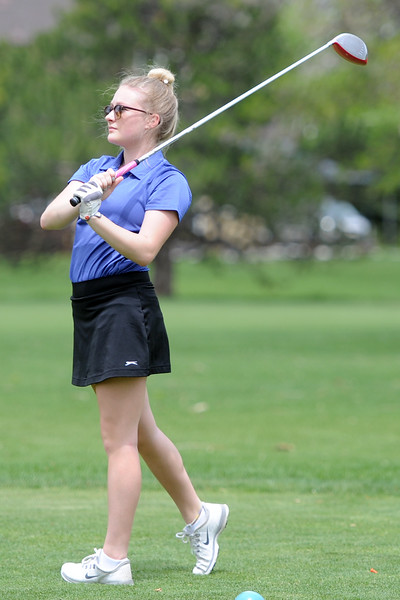 Resurrection Christian's Colette Bangma watches her tee shot during the 3A Region 3 tournament on Monday, May 7, 2018 at the Olde Course at Loveland. (Sean Star/Loveland Reporter-Herald)