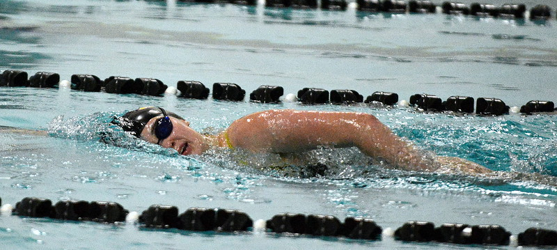 Thompson Valley's Alyssa Howard competes in the 500-yard freestyle at Friday's District Championships at the Mountain View Aquatic Center. (Mike Brohard/Loveland Reporter-Herald)