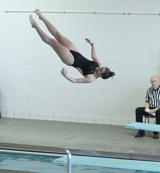 Loveland's Paige Strait competes in diving at Friday's District Championships at the Mountain View Aquatic Center. (Mike Brohard/Loveland Reporter-Herald)