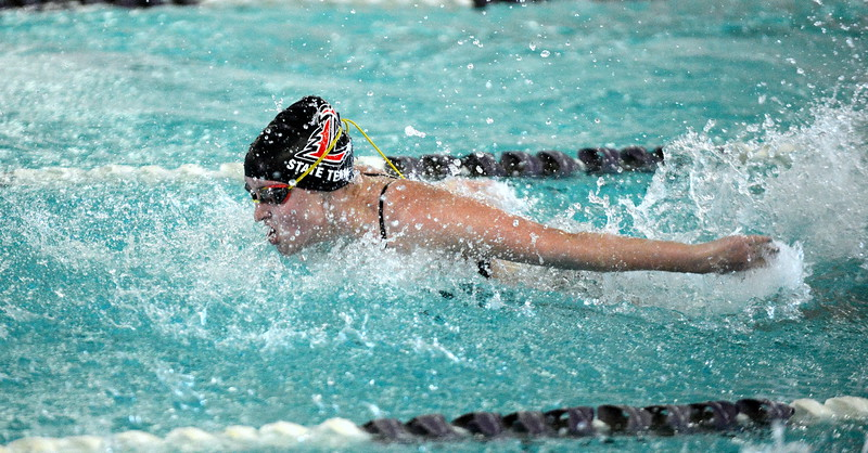 Loveland's Josie Brohard does the butterfly leg of the 200-yard medley relay at Friday's District Championships at the Mountain View Aquatic Center. The Indians won the relay in a time of 1:54.18. (Mike Brohard/Loveland Reporter-Herald)