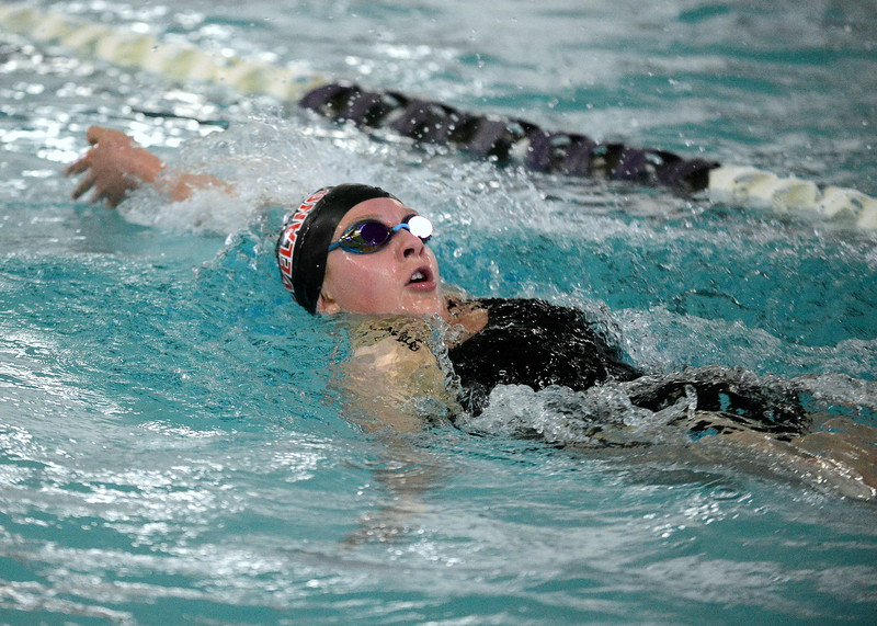 Loveland's Delaney McNally competes in the 200-yard individual medley at Friday's District Championships at the Mountain View Aquatic Center. (Mike Brohard/Loveland Reporter-Herald)