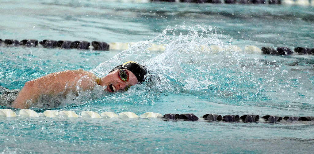. Thompson Valley\'s Emma McKalko swims to a second-place finish in the 200-yard freestyle at Friday\'s District Championships at the Mountain View Aquatic Center. (Mike Brohard/Loveland Reporter-Herald)