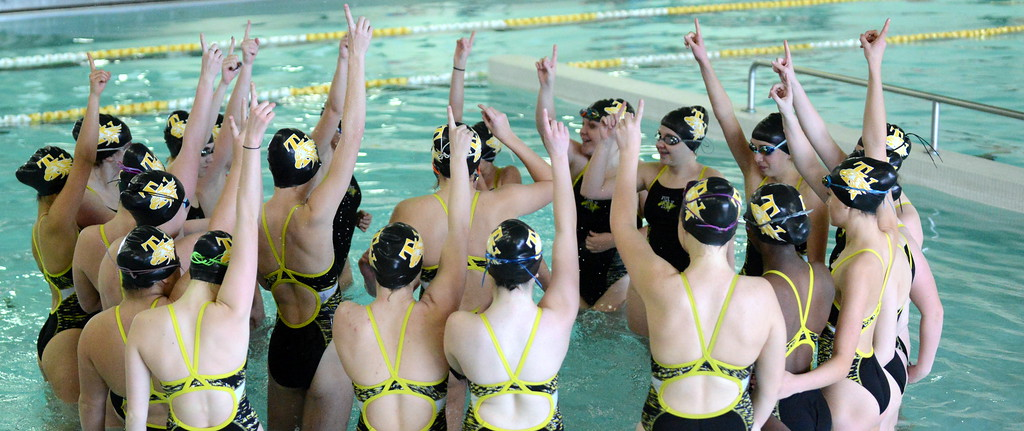 . Thompson Valley finishes off its team cheer  at Friday\'s District Championships at the Mountain View Aquatic Center. (Mike Brohard/Loveland Reporter-Herald)