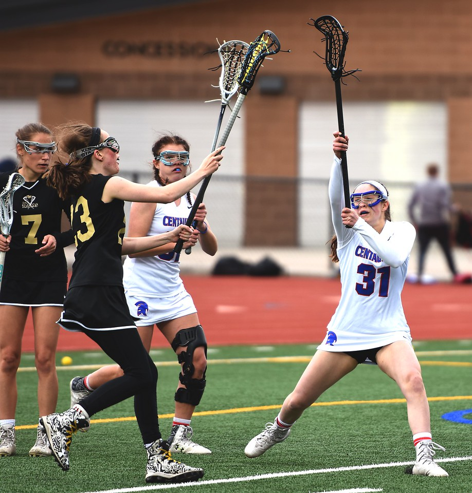 Ariana O'Brien obstructs a pass during the Centaurus girls lacrosse team's game against Green Mountain on Thursday at Centaurus High School.