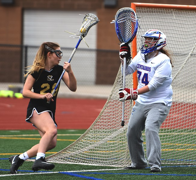 Centaurus goalie Mia Sanchez shuts down the attack against Green Mountain on Thursday at Centaurus High School.
