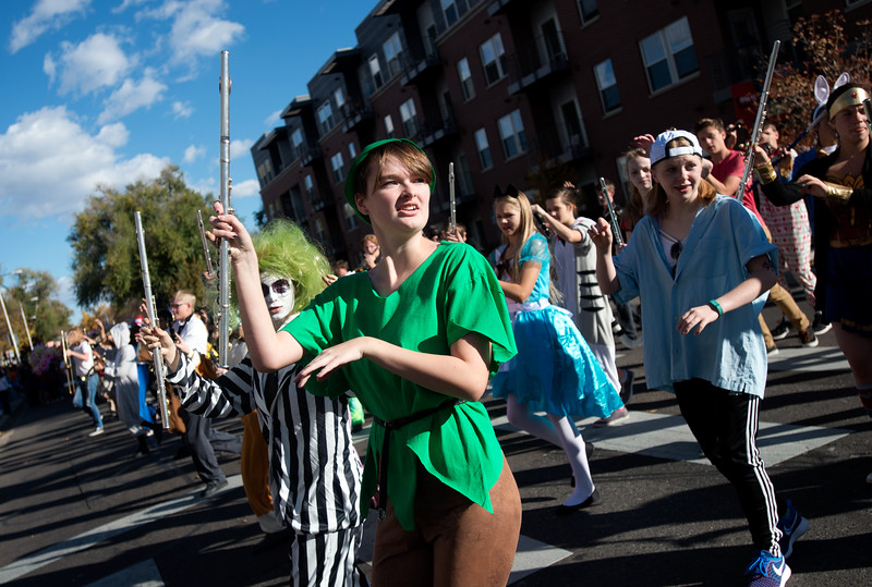 "Megan Prumbach dances to the song ""Thriller"" with the Silver Creek High School Marching Band during the annual Halloween Parade and Trick or Treat Street in Longmont on Saturday.  <br /> More photos:  <a href=""http://www.dailycamera.com"">http://www.dailycamera.com</a><br /> (Autumn Parry/Staff Photographer)<br /> October 29, 2016"
