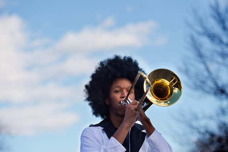 "Dakota Jackson, with Longmont High School, plays the trombone with the marching band during the annual Halloween Parade and Trick or Treat Street in Longmont on Saturday. <br /> More photos:  <a href=""http://www.dailycamera.com"">http://www.dailycamera.com</a><br /> (Autumn Parry/Staff Photographer)<br /> October 29, 2016"