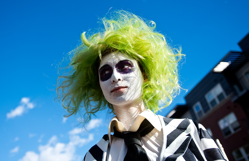 "Madison Manning, dressed as beetlejuice, waits with the Silver Creek High School Marching Band for the annual Halloween Parade and Trick or Treat Street to begin in Longmont on Saturday. <br /> More photos:  <a href=""http://www.dailycamera.com"">http://www.dailycamera.com</a><br /> (Autumn Parry/Staff Photographer)<br /> October 29, 2016"