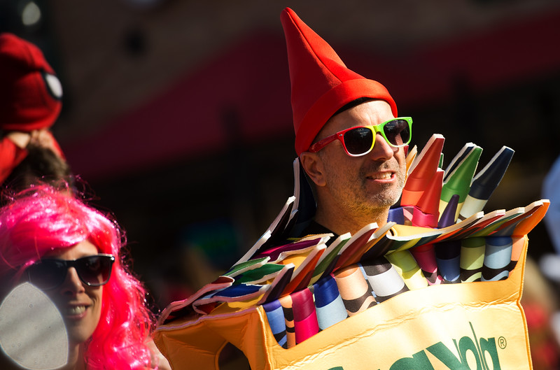 "A participant dressed as a box of crayons walks with the annual Halloween Parade and Trick or Treat Street in Longmont on Saturday. <br /> More photos:  <a href=""http://www.dailycamera.com"">http://www.dailycamera.com</a><br /> (Autumn Parry/Staff Photographer)<br /> October 29, 2016"