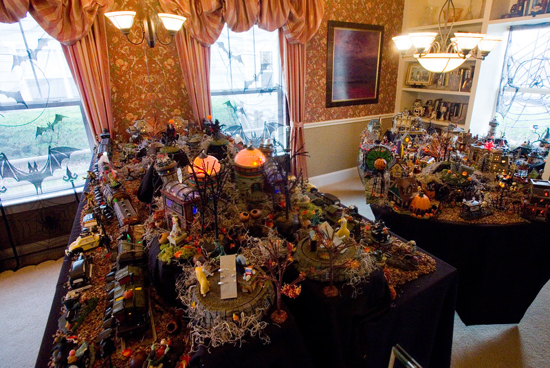 """A Halloween village made by Frannie Follick-Hood, at her home in Longmont on Sunday. The set up includes a mortuary, blood bank and train station among many characters she has collected over the years. <br /> More photos:  <a href=""""http://www.dailycamera.com"""">http://www.dailycamera.com</a><br /> (Autumn Parry/Staff Photographer)<br /> October 30, 2016"""