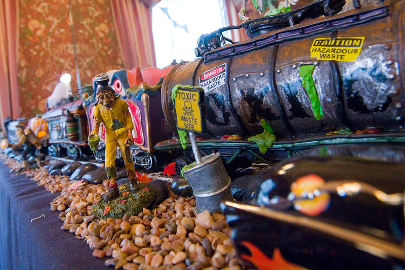 "A Halloween village made by Frannie Follick-Hood, at her home in Longmont on Sunday. The set up includes a mortuary, blood bank and train station among many characters she has collected over the years. <br /> More photos:  <a href=""http://www.dailycamera.com"">http://www.dailycamera.com</a><br /> (Autumn Parry/Staff Photographer)<br /> October 30, 2016"