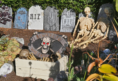Skeletons and grave markers sit in a yard on Hodgson Street near W in Eureka on Friday. (Shaun Walker -- The Times-Standard)