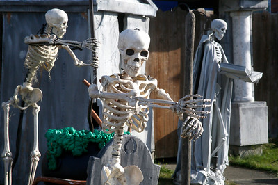 Skeletons stay busy amid a crowded graveyard and mausoleums on Fairfield Street near West Harris in Eureka on Friday. (Shaun Walker -- The Times-Standard)