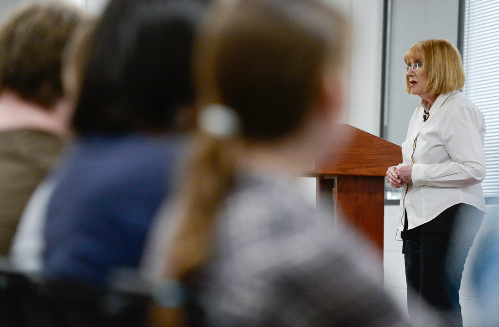. Holocaust survivor Sara Moses speaks at Front Range Community College on Monday. More photos: TimesCall.com. Matthew Jonas/Staff Photographer April 17,  2017