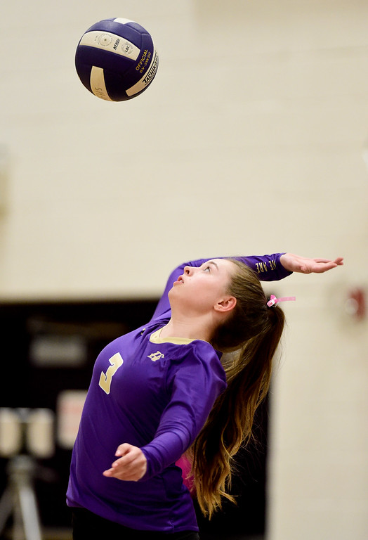 . BROOMFIELD, CO - OCTOBER 9:Holy Family High School\'s Morgan Marino (No. 3) serves the ball to Mead High School in Broomfield on Oct. 9, 2018. (Photo by Matthew Jonas/Staff Photographer)