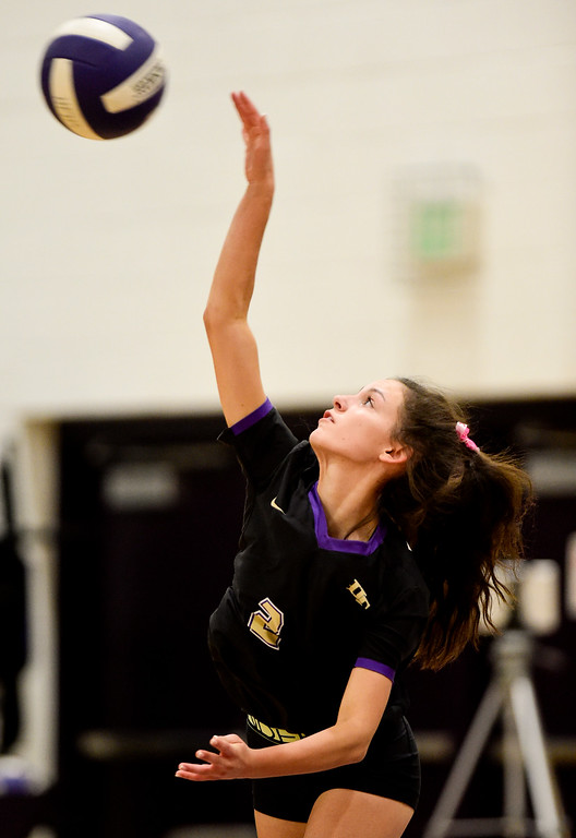 . BROOMFIELD, CO - OCTOBER 9:Holy Family High School\'s Peyton Frank (No. 2) serves the ball to Mead High School in Broomfield on Oct. 9, 2018. (Photo by Matthew Jonas/Staff Photographer)