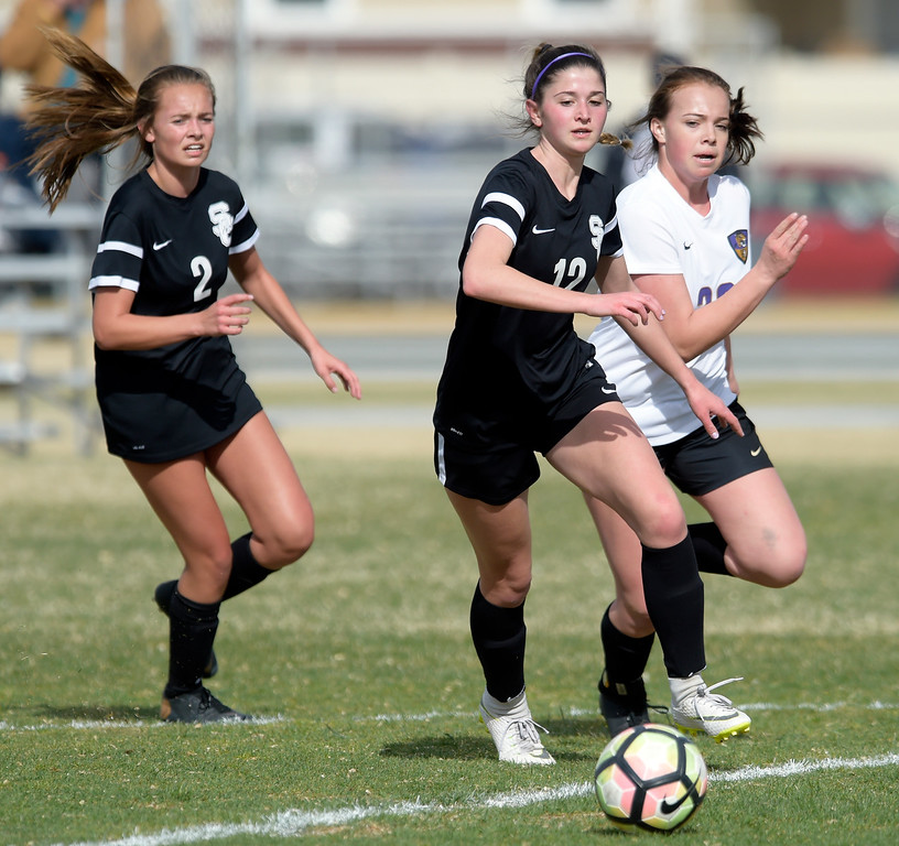 . LONGMONT, CO - APRIL 1: Silver Creek\'s Alexa Karsel goes after the ball in the first half against Holy Family at Silver Creek High School April  1, 2019. To view more photos visit bocopreps.com. (Photo by Lewis Geyer/Staff Photographer)