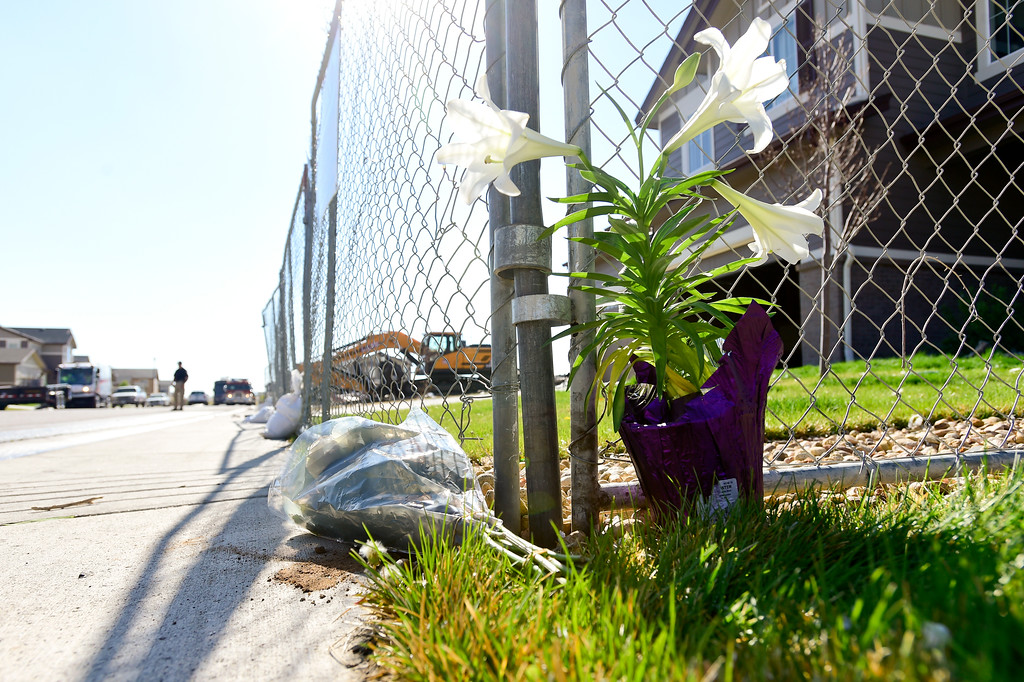 . Flowers are seen next to a fence on the 6300 Block of Twilight Avenue in Firestone on Wednesday. On Monday  a house was destroyed by a fire killing two people inside and injuring two others. More photos: TimesCall.com. Matthew Jonas/Staff Photographer April 19,  2017