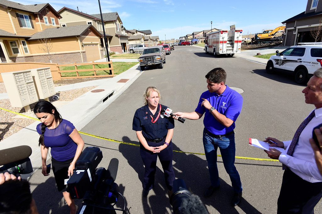 . Frederick-Firestone Fire Protection District spokeswoman Summer Campos speaks to the media on Tuesday. Two bodies were found in the basement of a Firestone house that exploded into flames Monday night. More photos: TimesCall.com. Matthew Jonas/Staff Photographer April 18,  2017