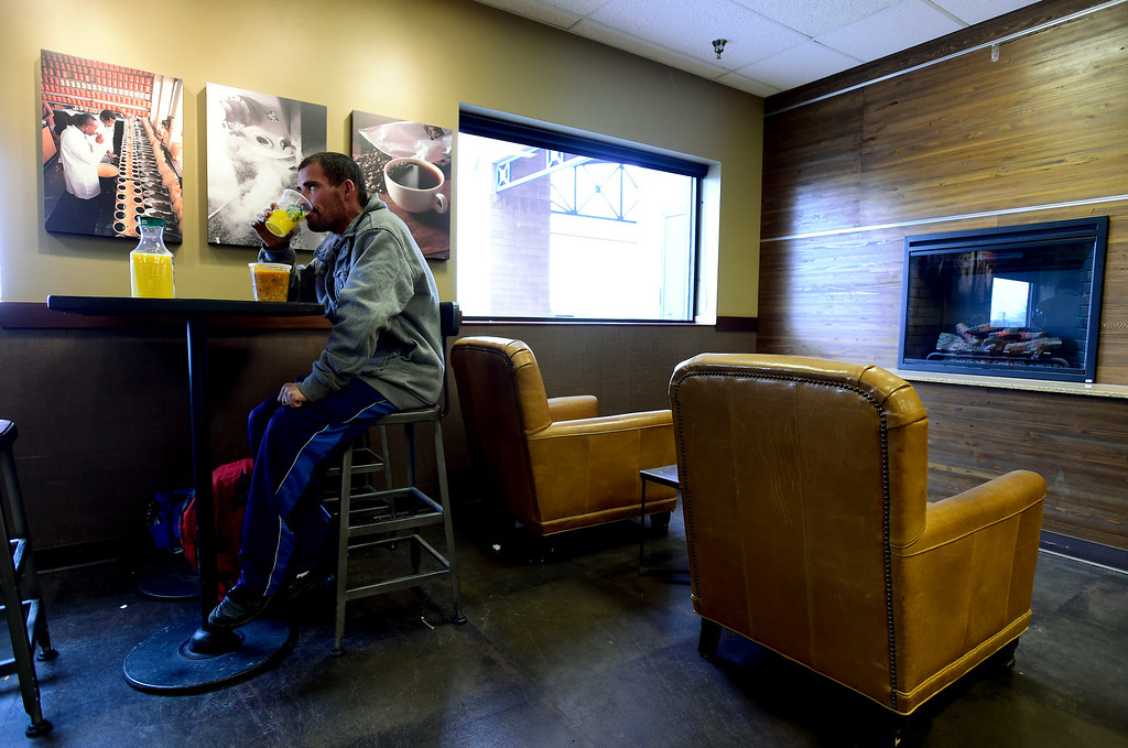. Glenn Tefft sits at King Soopers on Hover Street eating soup he bought with SNAP benefits on Tuesday. Tefft was offered a job on the night shift at a printing plant in Longmont.  Matthew Jonas/Staff Photographer April 4,  2017