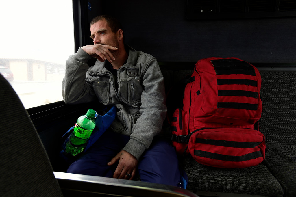 . Glenn Tefft, who is currently homeless in Longmont, rides the bus to King Soopers on Hover Street to look for his lost cell phone on Tuesday.  Matthew Jonas/Staff Photographer April 4,  2017