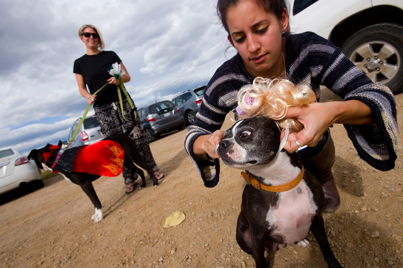 """Valentina Borda dresses up her dog Sugaree for the  """"Howl-o-ween"""" event held by the City of Boulder's Open Space and Mountain Parks Department at Cherryvale Trailhead in Boulder on Sunday. <br /> More photos:  <a href=""""http://www.dailycamera.com"""">http://www.dailycamera.com</a><br /> (Autumn Parry/Staff Photographer)<br /> October 30, 2016"""