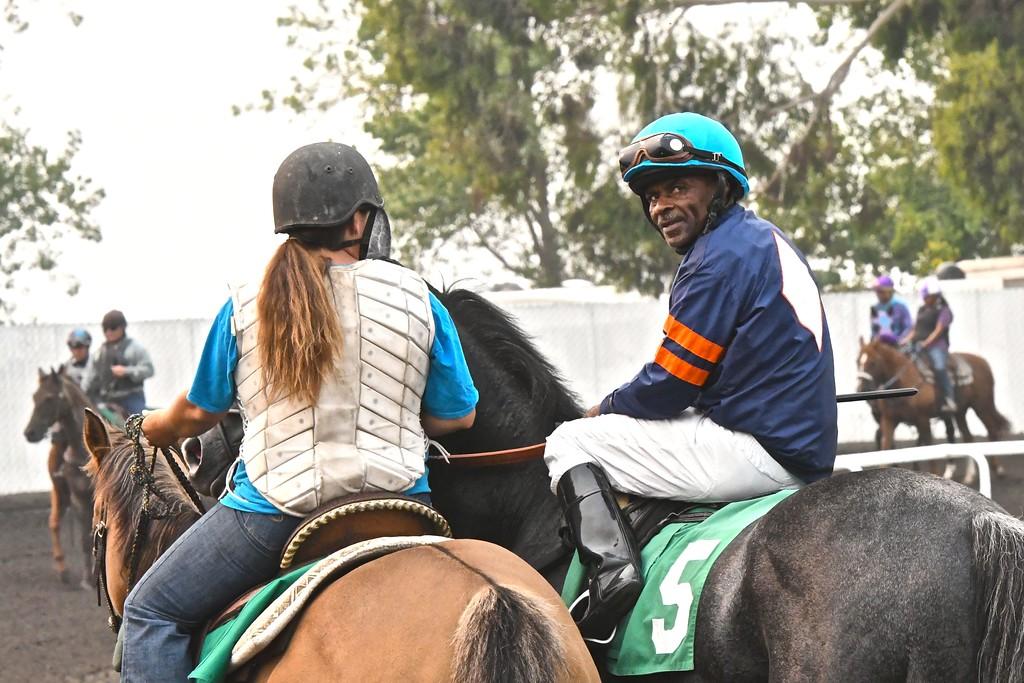 . Longtime Ferndale Racetrack jockey Barrington Harvey warms up for the fifth race on Monday. José Quezada�For Times-Standard