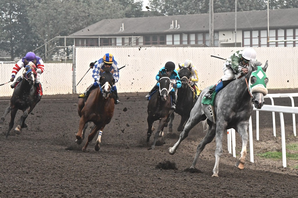 . Pounding the turf at the last turn of the sixth race Monday.  José Quezada�For Times-Standard