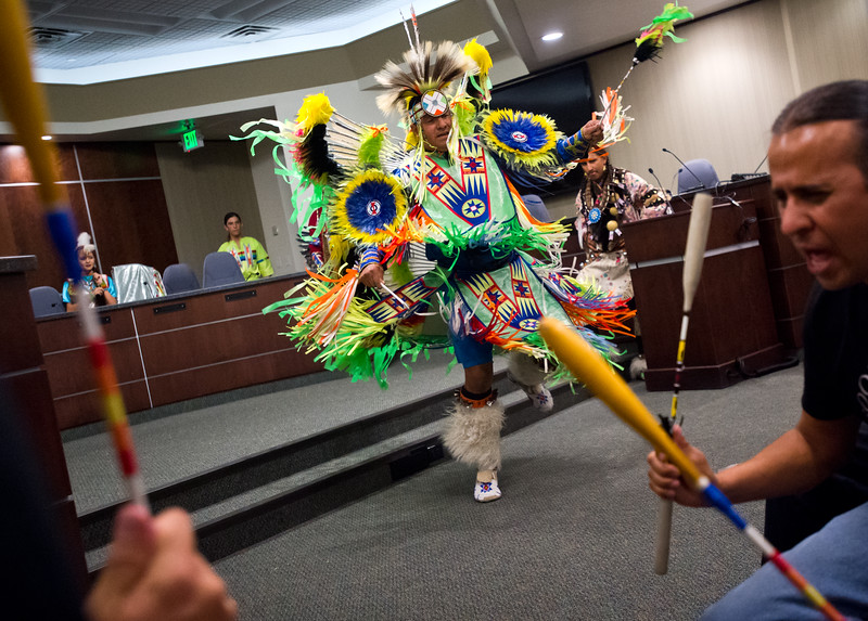 "Brad Bearsheart, with the Intertribal Traditional Dancers, dances during Boulder's inaugural Indigenous Peoples Day Celebration at the Municipal Building on Sunday. <br /> More photos:  <a href=""http://www.dailycamera.com"">http://www.dailycamera.com</a><br /> (Autumn Parry/Staff Photographer)<br /> October 9, 2016"