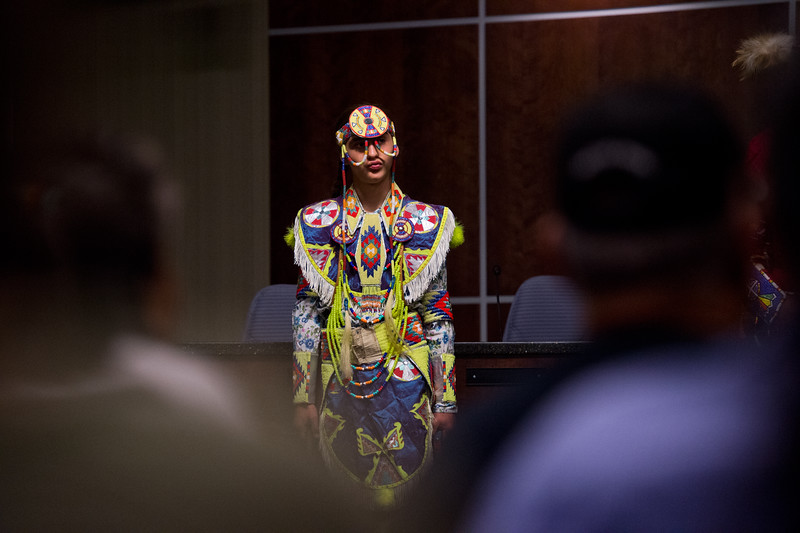 "Hawk Jerome waits for his brother to introduce him at Boulder's inaugural Indigenous Peoples Day Celebration at the Municipal Building on Sunday. <br /> More photos:  <a href=""http://www.dailycamera.com"">http://www.dailycamera.com</a><br /> (Autumn Parry/Staff Photographer)<br /> October 9, 2016"