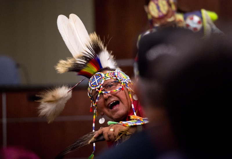 "Gerald Montour, with the Intertribal Traditional Dancers, dances during Boulder's inaugural Indigenous Peoples Day Celebration at the Municipal Building on Sunday. <br /> More photos:  <a href=""http://www.dailycamera.com"">http://www.dailycamera.com</a><br /> (Autumn Parry/Staff Photographer)<br /> October 9, 2016"