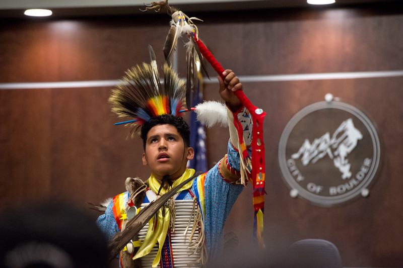 "Chasing Hawk Standing Bear, with the Intertribal Traditional Dancers, dances during Boulder's inaugural Indigenous Peoples Day Celebration at the Municipal Building on Sunday. <br /> More photos:  <a href=""http://www.dailycamera.com"">http://www.dailycamera.com</a><br /> (Autumn Parry/Staff Photographer)<br /> October 9, 2016"
