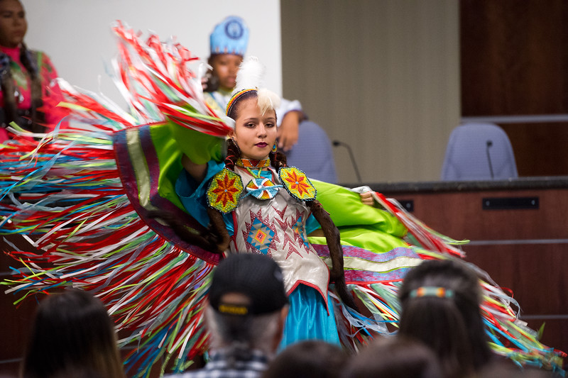 "Ella Bearsheart, 15, with the Intertribal Traditional Dancers, dances during Boulder's inaugural Indigenous Peoples Day Celebration at the Municipal Building on Sunday. <br /> More photos:  <a href=""http://www.dailycamera.com"">http://www.dailycamera.com</a><br /> (Autumn Parry/Staff Photographer)<br /> October 9, 2016"