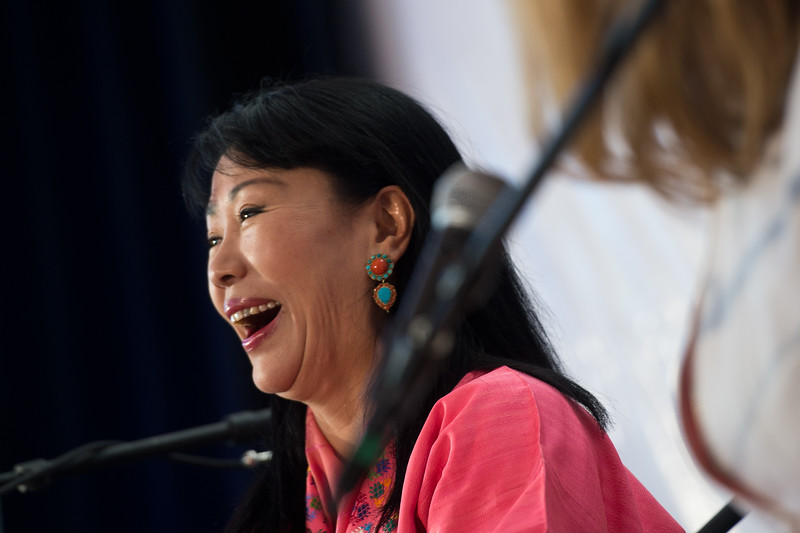 "Her Majesty the Royal Queen Mother Ashi Dorji Wangmo Wangchuck of Bhutan shares a laugh with Carrie Morgridge during a session in the Skyscapes room as part of the Jaipur Literature Festival at the Boulder Public Library on Sunday.<br /> More photos:  <a href=""http://www.dailycamera.com"">http://www.dailycamera.com</a><br /> (Autumn Parry/Staff Photographer)<br /> September 25, 2016"