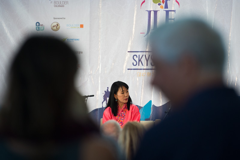 """Her Majesty the Royal Queen Mother Ashi Dorji Wangmo Wangchuck of Bhutan talks with Carrie Morgridge during a session with Sanjoy K. Roy, in the Skyscapes room as part of the Jaipur Literature Festival at the Boulder Public Library on Sunday.<br /> More photos:  <a href=""""http://www.dailycamera.com"""">http://www.dailycamera.com</a><br /> (Autumn Parry/Staff Photographer)<br /> September 25, 2016"""