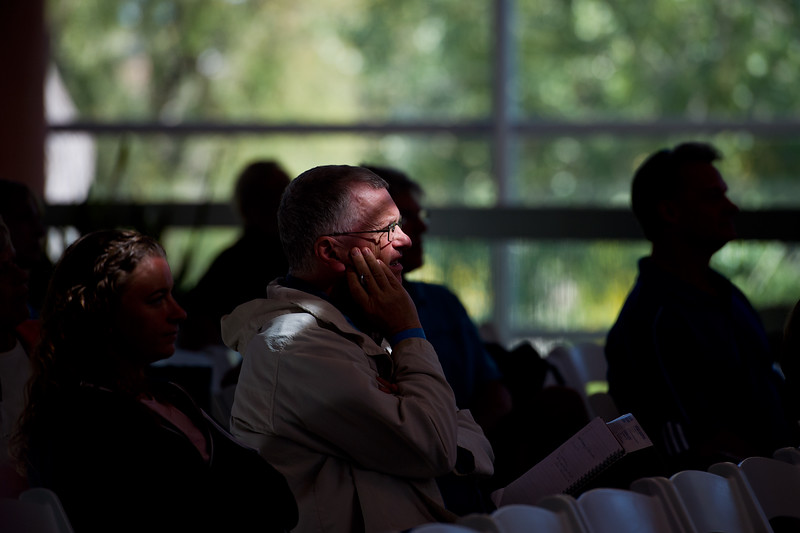 """An audience member listens to Dave Goulson, professor of bumblebees at the University of Sussex and bestselling author, speak about bees during a session in the Skyscapes room as part of the Jaipur Literature Festival at the Boulder Public Library on Sunday.<br /> More photos:  <a href=""""http://www.dailycamera.com"""">http://www.dailycamera.com</a><br /> (Autumn Parry/Staff Photographer)<br /> September 25, 2016"""