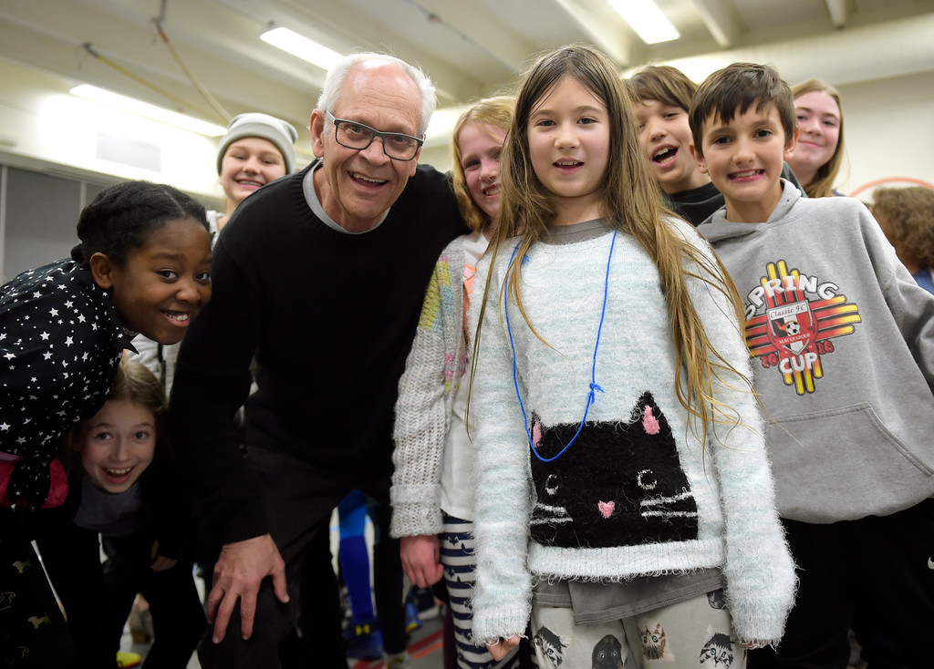 . NIWOT, CO - JANUARY 11: Jazz pianist Tony Gulizia poses with the fifth graders he played for January 11, 2019 at Niwot Elementary School. (Photo by Lewis Geyer/Staff Photographer)