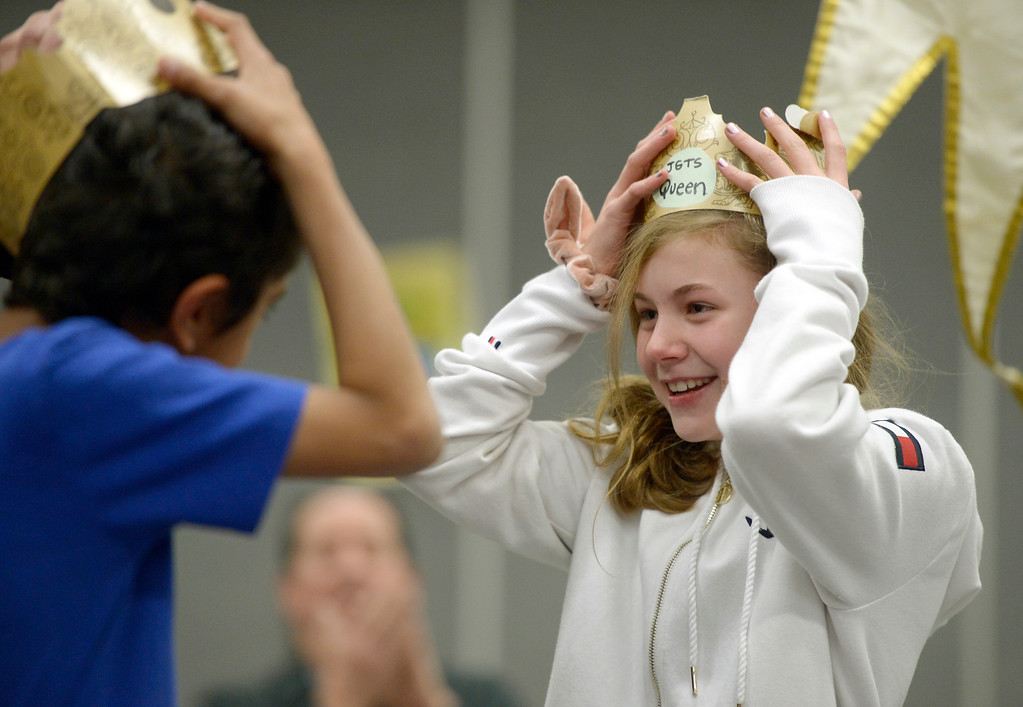 ". NIWOT, CO - JANUARY 11: Fifth graders Luke Ayer and Makenna Martinez wear ""crowns\"" during a jazz music presentation January 11, 2019 at Niwot Elementary School. (Photo by Lewis Geyer/Staff Photographer)"