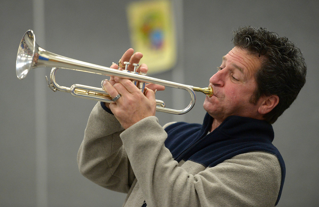 . NIWOT, CO - JANUARY 11: Michael �Gooch� Gurciullo performs on trumpet with a jazz quintet January 11, 2019 at Niwot Elementary School. (Photo by Lewis Geyer/Staff Photographer)