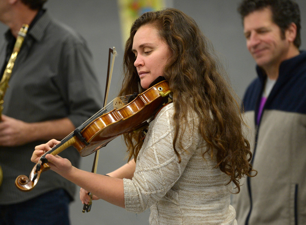 . NIWOT, CO - JANUARY 11: Guest violinist Bridget Law performs with a jazz quintet January 11, 2019 at Niwot Elementary School. (Photo by Lewis Geyer/Staff Photographer)