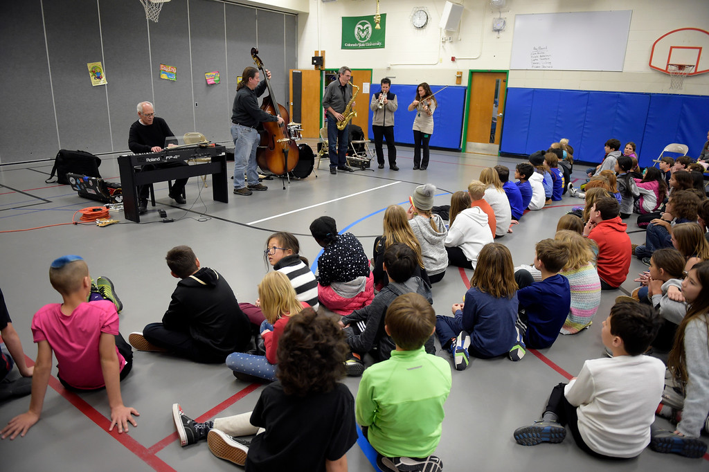 . NIWOT, CO - JANUARY 11: A jazz quintet performs for fifth graders January 11, 2019 at Niwot Elementary School. (Photo by Lewis Geyer/Staff Photographer)