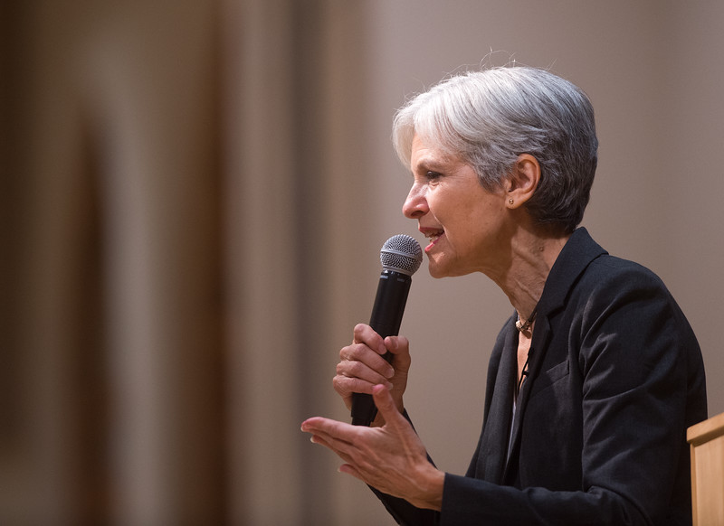 "Green Party presidential nominee Jill Stein speaks to an audience in Glenn Miller Ballroom at CU Boulder Campus on Sunday evening. <br /> More photos:  <a href=""http://www.dailycamera.com"">http://www.dailycamera.com</a><br /> (Autumn Parry/Staff Photographer)<br /> August 28, 2016"