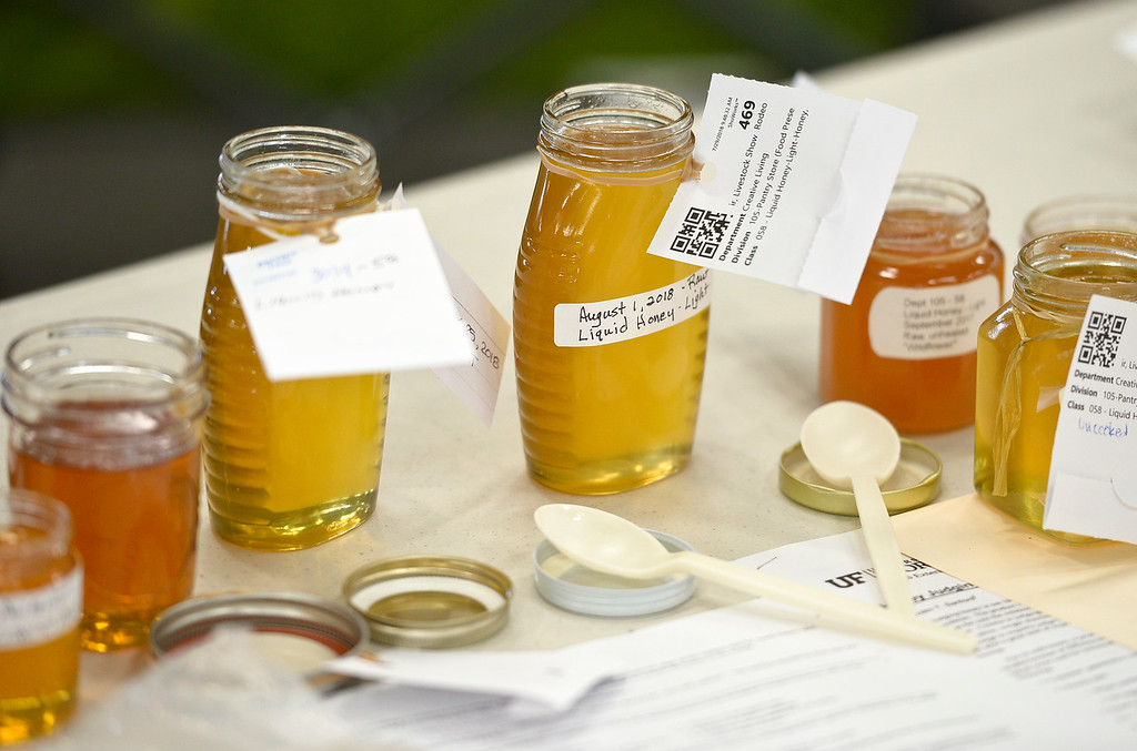 . Entries in the honey category during open judging in the Exhibit Building Thursday morning. To view more photos visit timescall.com. (Photo by Lewis Geyer/Staff Photographer) August 02, 2018