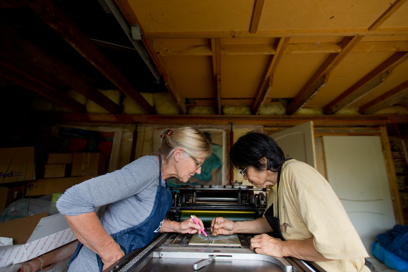 "Julia Seko and her friend Vivian Jean (left) prepare to make proofs using a Vandercook letterpress in Longmont on Saturday. <br /> More photos:  <a href=""http://www.dailycamera.com"">http://www.dailycamera.com</a><br /> (Autumn Parry/Staff Photographer)<br /> September 3, 2016"